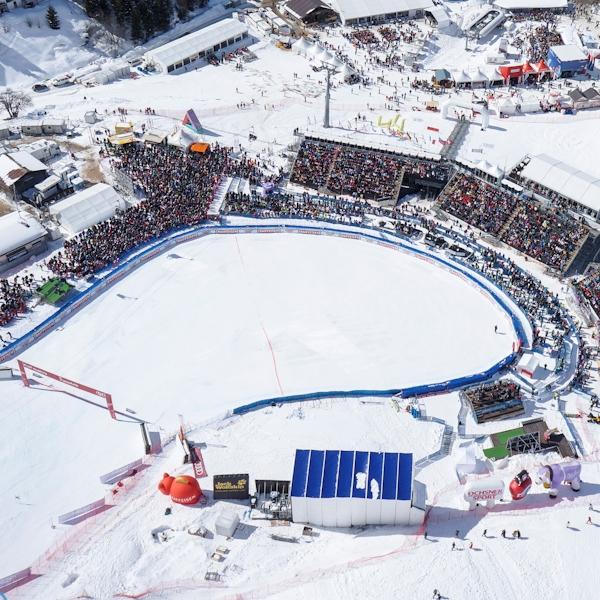 Parpan/Lenzerheide, 16.03.2013, Zielgelände FIS Skiweltcup Finale 2013 mit Weltcup Dörfli (Fredheim Ekström & Rittmeyer/EQImages) LUFTAUFNAHME